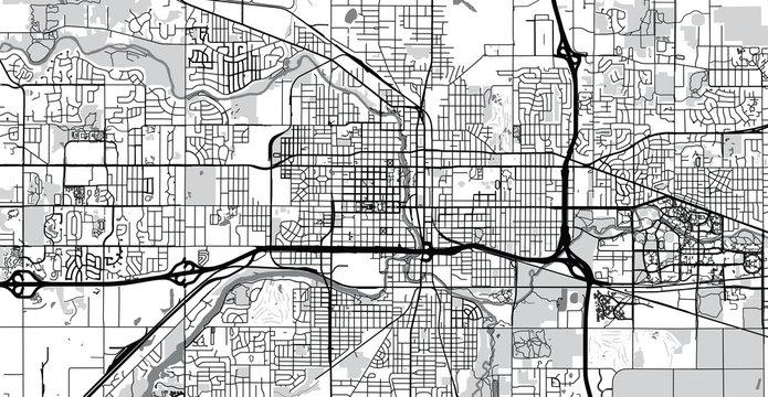 Urban vector city map of Lansing, USA. Michigan state capital