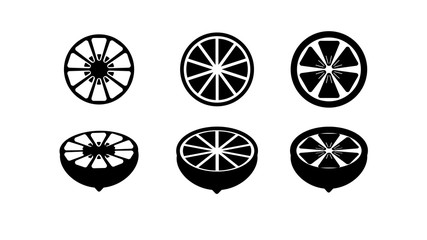 Black lemon icons isolated on white background. Fruit image. Vegetarian picture. Vector illustration.