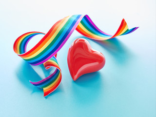 """Red heart and curled rainbow ribbon. Text """"Thank you NHS"""" on mint background. Symbols of public support of NHS doctors and nurses fighting coronavirus pandemics in Great Britain."""