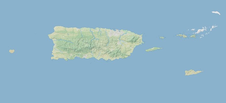 High resolution topographic map of Puerto Rico with land cover, rivers and shaded relief in 1:1.000.000 scale.