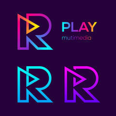 Abstract Letter R Multimedia and Play Looped Line Monogram Colourful logotype, Music and Swirl spiral infinity symbol, Technology and digital connection logo