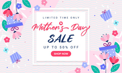 Wall Mural - Mother's Day Sale background vector illustration. Beautiful spring flowers with gift box