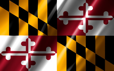 Image of the waving flag American state Maryland (3D rendering)