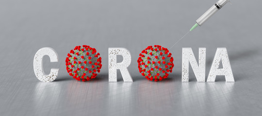 3d text CORONA with virus model as O and a syringe on metal background