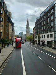 Printed roller blinds London red bus LONDON, UNITED KINGDOM - OCTOBER 24, 2019: Famous red Double-Decker at Monument bus stop