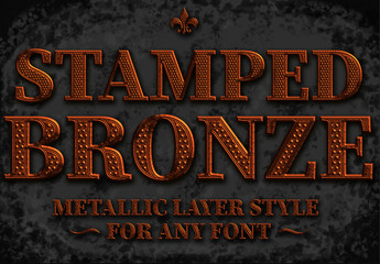 Bronze Stamped Text Style Mockup