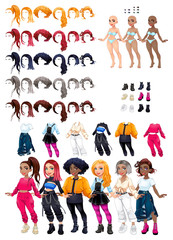 Poster Kinderkamer Dresses and hairstyles game.