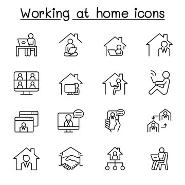 Working at home icon set in thin line style