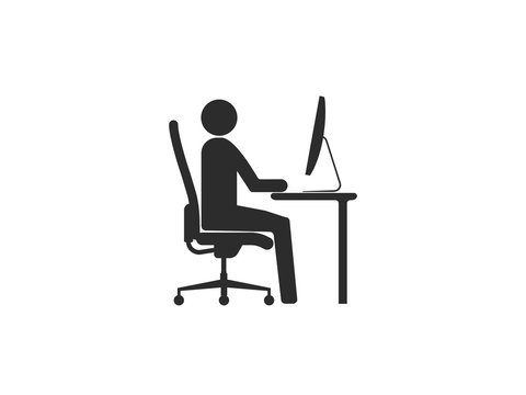 Work at home icon. Vector illustration, flat design.
