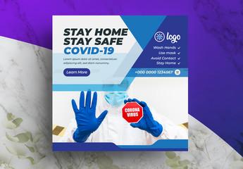 Blue Coronavirus Social Media Layout