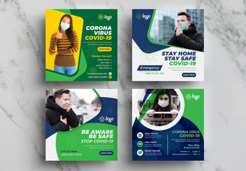 Coronavirus Preventation Social Media Layout Pack