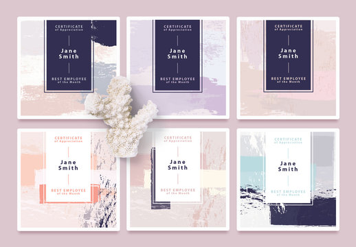 Set of Certificate Card Layouts with Pastel Brush Textures