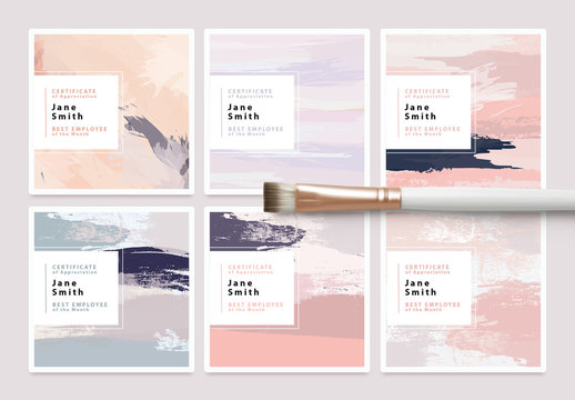 Set of Certificate Card Layouts with Textured Brush Strokes