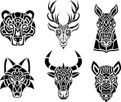 Tribal celtic animal head silhouette design isolated set