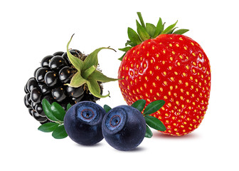 Fototapete - Berries collection. Strawberry, blueberry, blackberry  isolated on white.