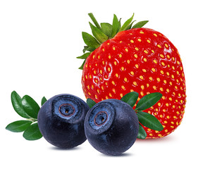 Fototapete - Strawberry and blueberry isolated on white.