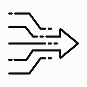 Icon for solving a problem. Illustration of simplicity. Brainstorm. Business concept. Merging directions. Traffic. Traffic flows. Connection of traffic, directions. Vector icon.