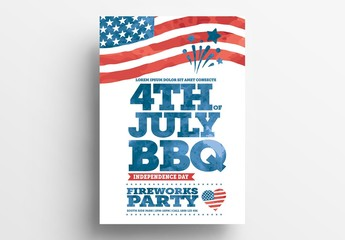 4th of July Flyer Layout with American Flag