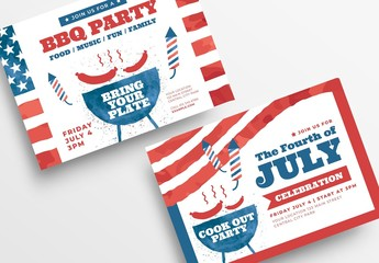 4th of July Flyer Layout with BBQ Illustration