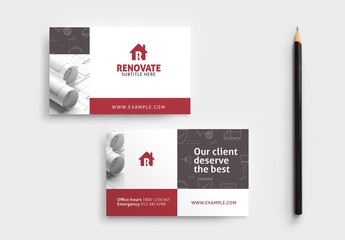 Construction Service Business Card Layout