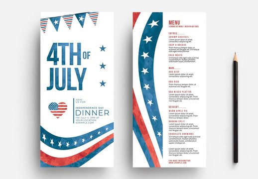 4th of July Menu Layout with Stars and Stripes