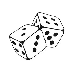 dice vector icon, gambling icon for casino apps and websites