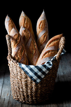 Freshly baked baguettes in basket