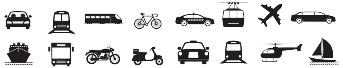 Public transport icons set in flat style.Vector Illustration
