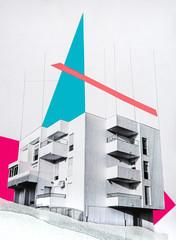 Exterior view of apartment building