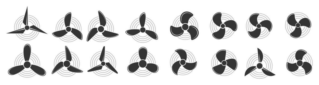Propeller icon, Aircraft propeller icons, symbols fan rotating  isolated on a white background. Vector illustration.