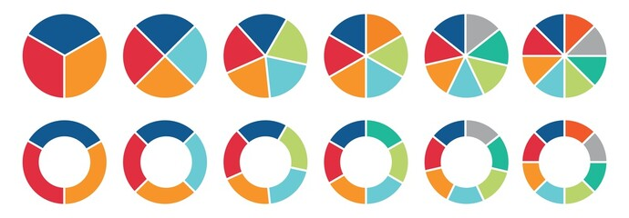 Obraz Pie chart set, Circle icons for infographic. Colorful diagram collection with  ,3,4,5,6,7,8 sections and steps. Pie chart for data analysis, business presentation, UI, web design. Vector illustration. - fototapety do salonu