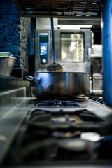 Pan placed on kitchen gas stove