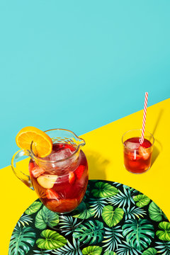 High angle view of sangria punch on table