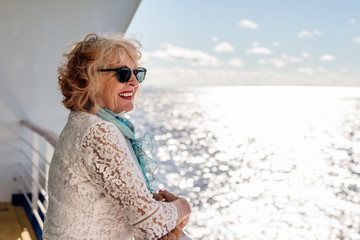 senior woman on a cruise vacation