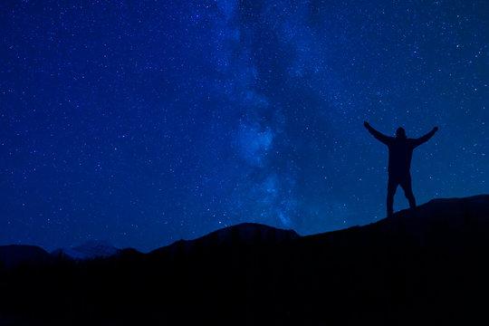 Silhoutte Man Praying To God Under Night Star Sky Milky Way Christian Concept