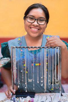 Mexican nahuatl artisan woman