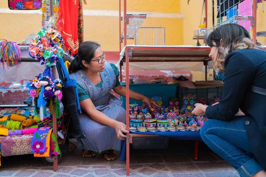 Tourist at Mexican craft fair
