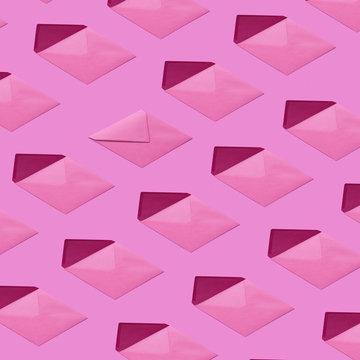 Envelopes pattern on a magenta background.