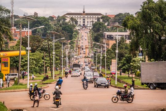 long straight road to parliament house in kampala uganda