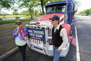 Truckers hold a May Day protest in Washington