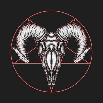 Hand drawing vintage satanic goat head vector illustration