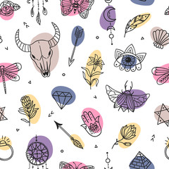 Boho colorful seamless pattern. Mystical and witchcraft symbols. Ethnic set with scull, butterfly, bug, moon, plant, eye and other magic elements. Perfect for fabrics, wallpaper and covers.
