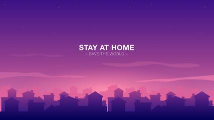 Foto auf AluDibond Violett Vector flat illustration sunset houses on village landscape view. Stay at home safe the world quarantine motivational phrase. Self isolation social distance virus prevention. Banner