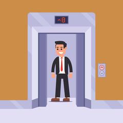 an elevator passenger rises to his floor. flat vector illustration