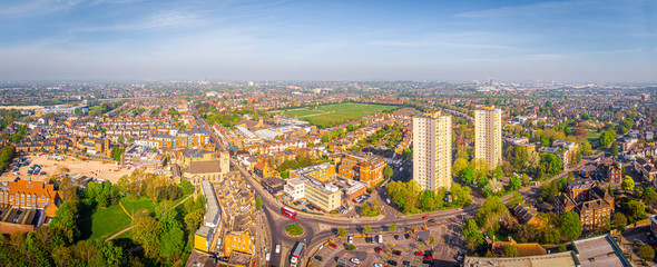 Aerial view of Acton town in suburb in the morning, UK