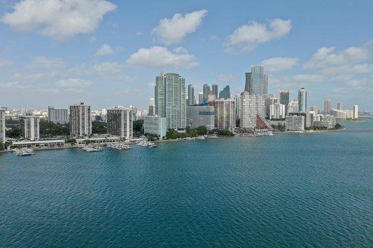 Miami Aerial View Downtown and Bridge to Key Biscane
