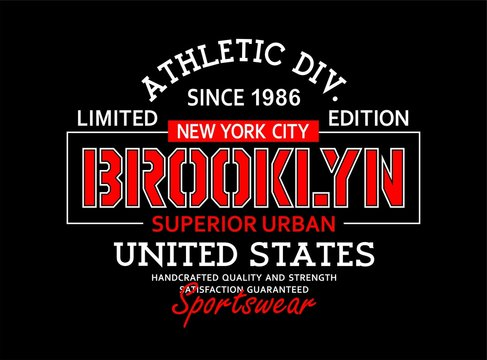 Typography vintage, Brooklyn t-shirt graphics, poster, vector illustration