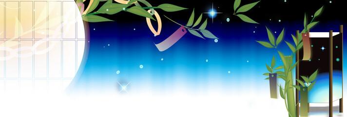 七夕の笹飾りに灯篭と天の川のイメージのイラストバナー素材