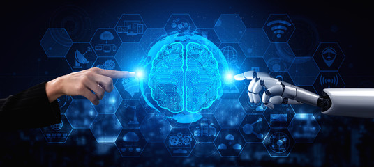3D rendering artificial intelligence AI research of robot and cyborg development for future of people living. Digital data mining and machine learning technology design for computer brain. Wall mural