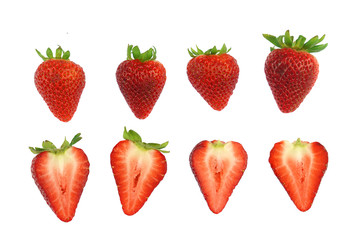 Wall Mural - fresh strawberries isolated on white background